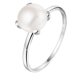 Gerhodineerd Zilveren Ring met Zoetwaterparel