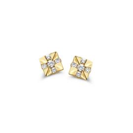 Excellent Jewelry Vierkante Gouden Oorstekers met Diamanten