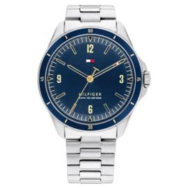 Tommy Hilfiger Maverick Zilverkleurig Heren Horloge met Blauwe Wijzerplaat