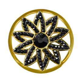 LOCKits Goudkleurige Bloem Munt van Edelstaal met Zwarte Zirkonia's 33mm