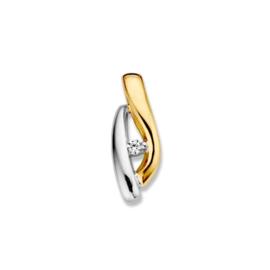 Excellent Jewelry Speelse Bicolor Hanger met Kleurloze Zirkonia