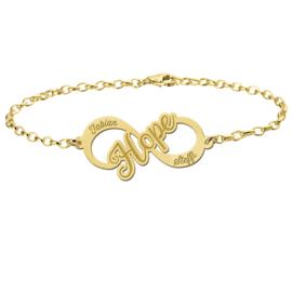 Hope Armband van Goud met Infinity Naamhanger > Names4ever