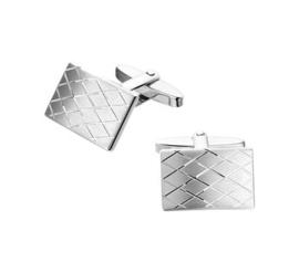 Matte Manchetknopen van Gerhodineerd Zilver met Diagonale Gepolijste Lijnen