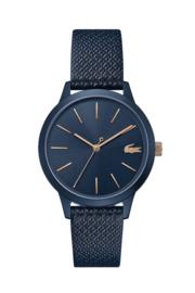 Lacoste Donkerblauw 12.12 Dames Horloge met Zwart Leder