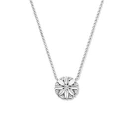 Excellent Jewelry Witgouden Collier met Bloempatroon Hanger met Diamanten
