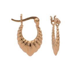 Geribbelde Druppelvormige Oorringen Rosé Coating   Karma Jewelry