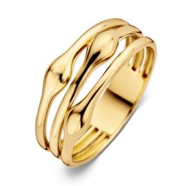 Excellent Jewelry Drie Stroken Ring van Geelgoud