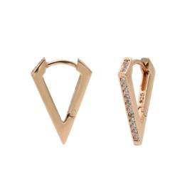 Rosé Hoops oorbellen met Kleurloze Zirkonia's | Karma Jewelry