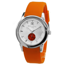 Prisma Zilverkleurig Heren Horloge met Oranje Horlogeband
