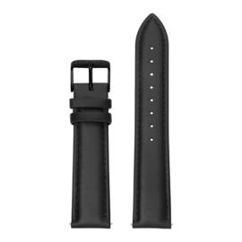 Zwarte Lederen Horlogeband met Zwarte Gespsluiting van KANE