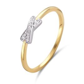 Excellent Jewelry Slanke Gouden Ring met Witgouden Briljanten Kopstuk
