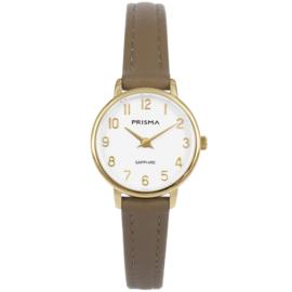 Prisma Goudkleurig Dames Horloge met Bruin Lederen Horlogeband