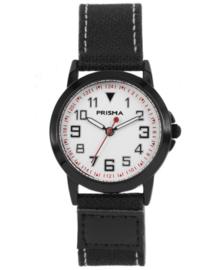 Edelstalen Prisma Jongens Horloge met Zwarte Canvas Band