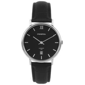 Classic Zwart Edelstalen Heren Horloge met Lederen Horlogeband