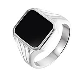 Vierkante Zwarte Onyx Steen Zegelring van Zilver / Maat 21,5