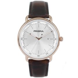 Roségoudkleurig Edelstalen Heren Horloge met Witte Wijzerplaat en Lederen Horlogeband