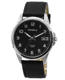 Stijlvol Heren Horloge van Zilverkleurig Titanium met Zwart Lederen Horlogeband