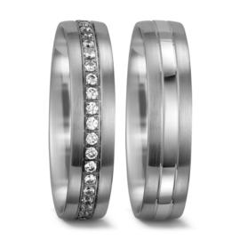 Robuuste Matte met Gepolijste Zilveren Trouwringen Set met Rij Diamanten