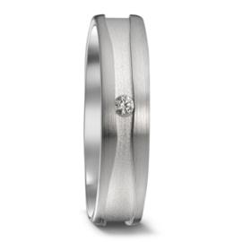 Matte Zilveren Dames Trouwring met Dieper Gelegen Strook en Diamant