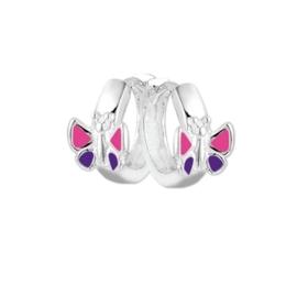 Vlinder Klapcreolen van Zilver met Fel Gekleurde Emaille