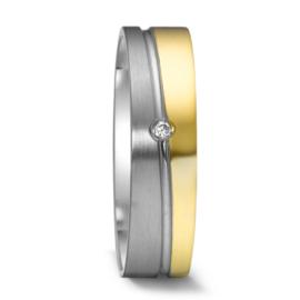 Vlakke 9 Karaat met Zilveren Dames Trouwring met Diamant