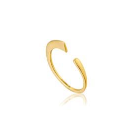 Goudkleurige Geometry Curved Ring van Ania Haie