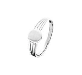 Vlakke Zilveren Ring met Rond Kopstuk