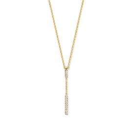 Excellent Jewelry Geelgouden Collier met 0,06 crt. Briljant Staafje Hanger