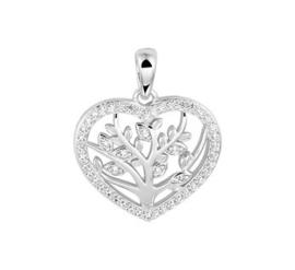Zilveren Hanger Hart Levensboom