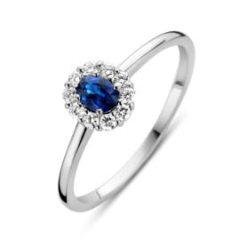 Excellent Jewelry Witgouden Ring met 0,26 crt. Saffier Diamant