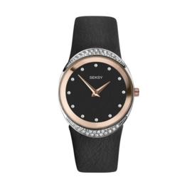 Sekonda Rond Roségoudkleurig SEKSY Dames Horloge met Zwarte Band