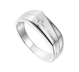 Gepolijst met Matte Zilveren Zirkonia Ring voor Heren / Maat 19