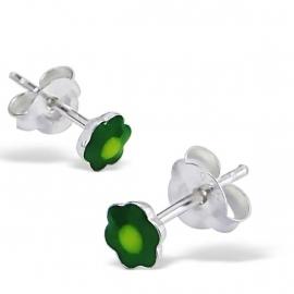 Zilveren bloem oorbelletjes SU172-groen