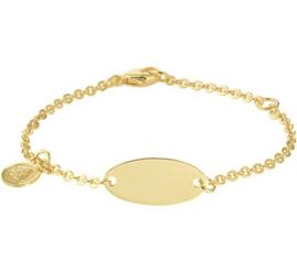 Gouden Graveer Kinderarmband Engel plaat 8 mm 11,5 – 13 cm
