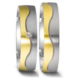 9 Karaat met Zilveren Trouwringen Set met Kleurloze Diamant