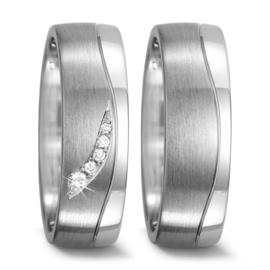 Matte met Gepolijste Zilveren Trouwringen Set met Diamanten
