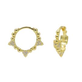 Goudkleurige Oorringen met Bolletjes & Zirkonia's | Karma Jewelry