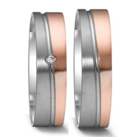 Matte Zilveren met Gepolijste Roségouden Trouwringen Set met Kleurloze Diamant