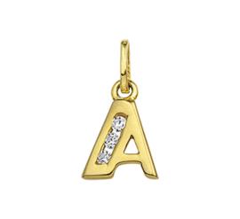 Alfabet Letter A Hanger van Geelgoud met Zirkonia's