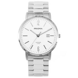 Zilverkleurig Edelstalen Heren Horloge met Witte Wijzerplaat