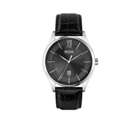 Hugo Boss Horloge Distinction Zilverkleurig Horloge met Zwarte Band van Boss