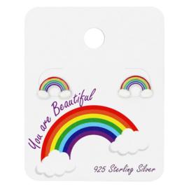 Zilveren Kinderoorbellen Regenboog | Oorbellen op Kaartje