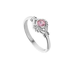 Ring voor Kinderen met Decoratief Kopstuk met Roze Strass Steen