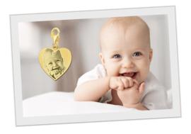 Gouden Hartvormige Fotogravure Bedel van Names4ever