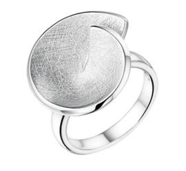 Dames Ring van Zilver met Gescratcht Spiraal Kopstuk