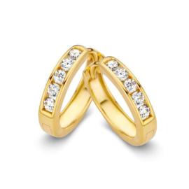 Excellent Jewelry Geelgouden Creolen met Robuuste Zirkonia's