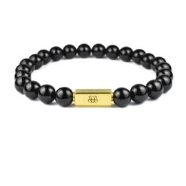 Gold Premium   Obsidiaan Kralen Armband van Blaauw Bloed