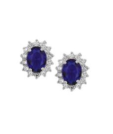 Zilveren Oorknoppen met Blauwe Saffier en Zirkonia Rozet