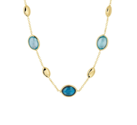 Collier van Geelgoud met London Blue en Blauwe Topaas Edelstenen