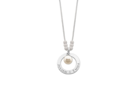 Mama Naamketting van Zilver met Parel Hanger - Names4ever